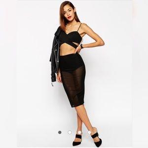 NWT ASOS Sheer Mesh Black Pencil Skirt SZ 14